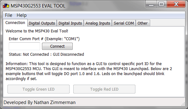 MSP430 PC GUI Evaluation Tool