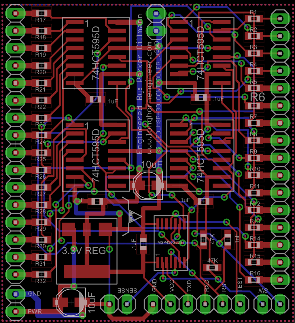 MSP430 32 LED Driver PCB | The Longhorn Engineer