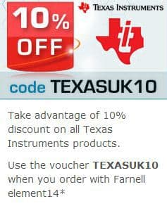 Farnell UK Offering 10% off TI Products